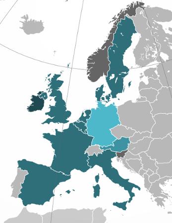 Unser Liefergebiet in Europa