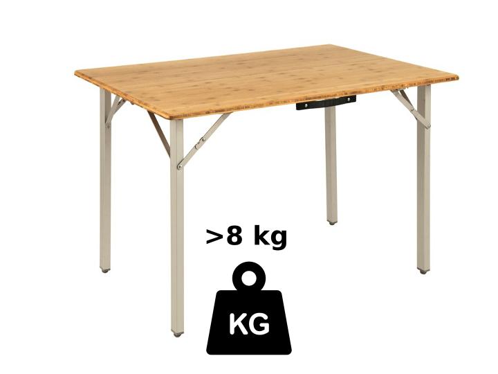 Besonders stabile Campingtische mit einer stärkeren Holzplatte schaffen es in die Gewichtsklasse ab 8 kg