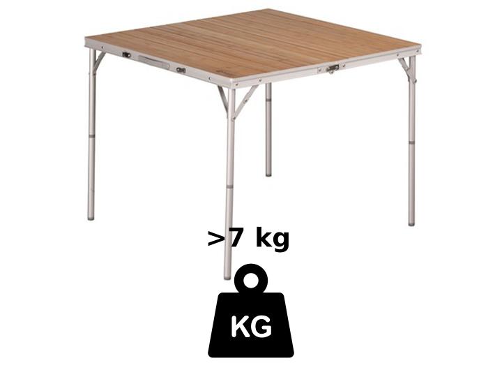 Mittelschwere Campingtische wiegen zwischen 7 und 8 kg - das ist auch mit Holzplatte möglich
