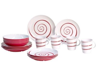 Im Set SparenGeschirrsets von hochwertigen Marken, wie Brunner und Gimex. Schöne Designs für den nächsten Urlaub.